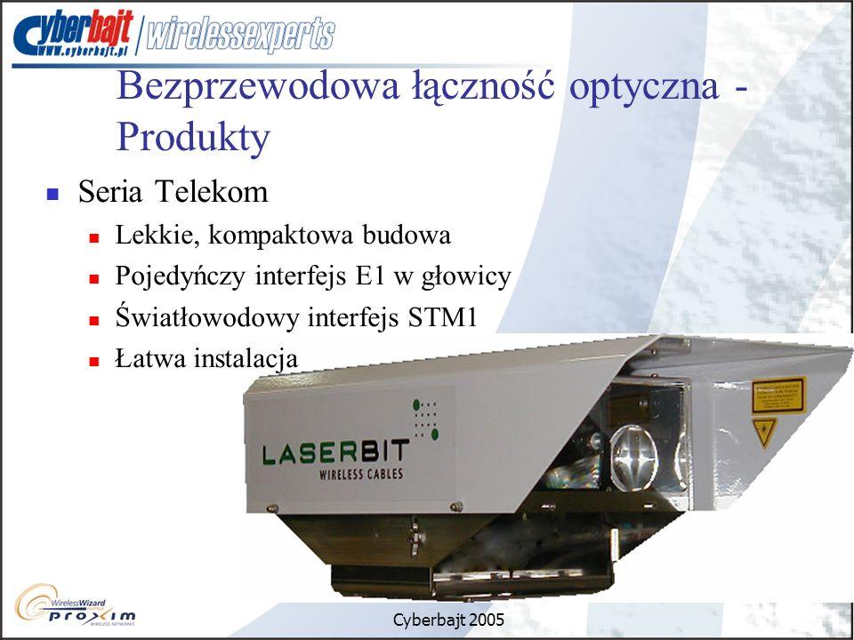 Cyberbajt 2005 Bezprzewodowa łączność optyczna - Produkty Seria Telekom Lekkie, kompaktowa budowa Pojedyńczy interfejs E1 w głowicy Światłowodowy interfejs STM1 Łatwa instalacja