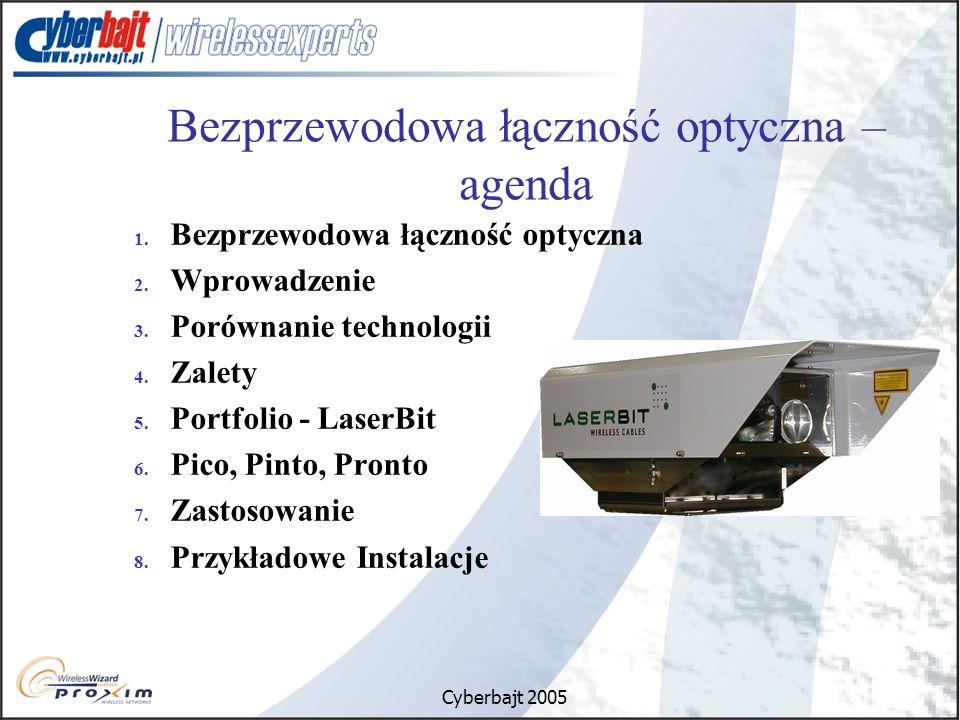 Cyberbajt 2005 Bezprzewodowa łączność optyczna – agenda 1. Bezprzewodowa łączność optyczna 2. Wprowadzenie 3. Porównanie technologii 4. Zalety 5. Port