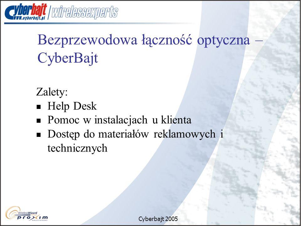 Cyberbajt 2005 Bezprzewodowa łączność optyczna – CyberBajt Zalety: Help Desk Pomoc w instalacjach u klienta Dostęp do materiałów reklamowych i technicznych