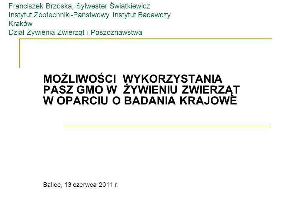 Franciszek Brzóska, Sylwester Świątkiewicz Instytut Zootechniki-Państwowy Instytut Badawczy Kraków Dział Żywienia Zwierząt i Paszoznawstwa MOŻLIWOŚCI