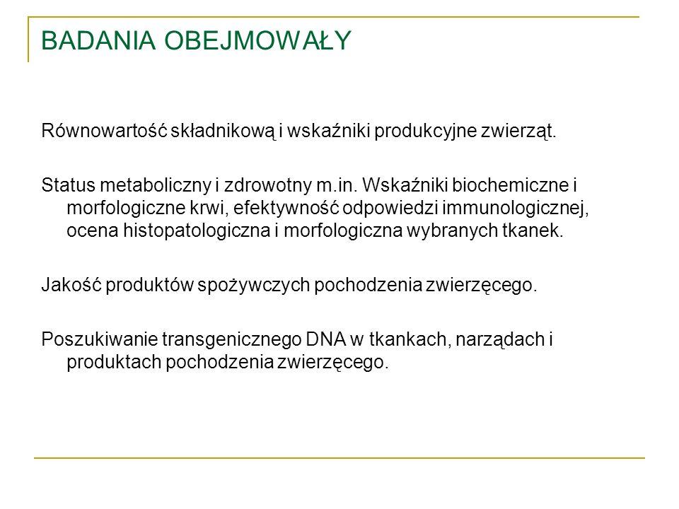 BADANIA OBEJMOWAŁY Równowartość składnikową i wskaźniki produkcyjne zwierząt. Status metaboliczny i zdrowotny m.in. Wskaźniki biochemiczne i morfologi