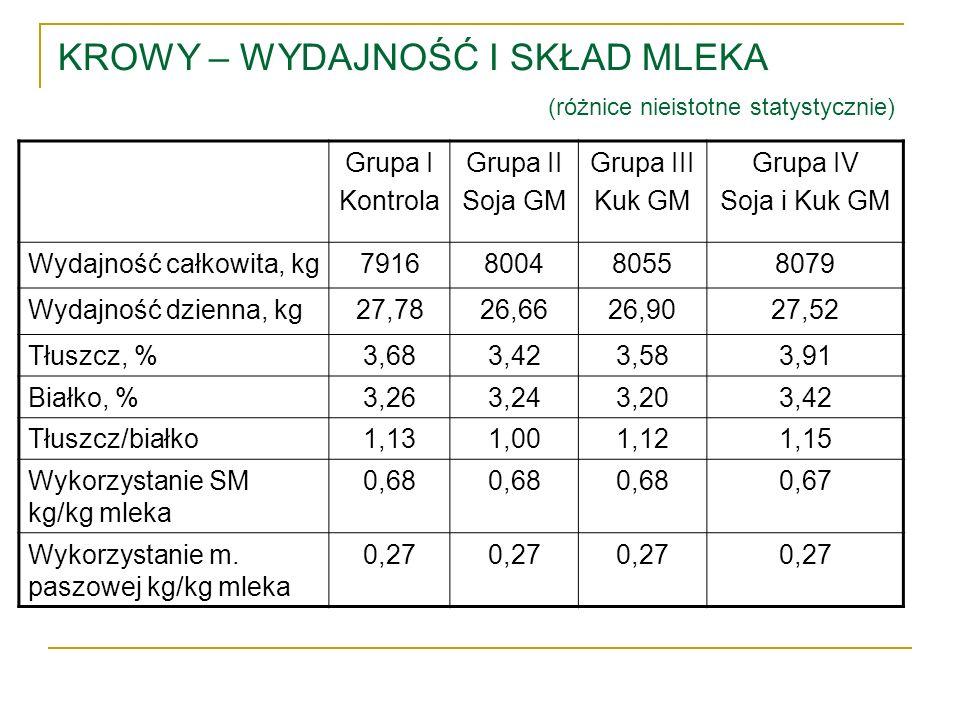 KROWY – WYDAJNOŚĆ I SKŁAD MLEKA (różnice nieistotne statystycznie) Grupa I Kontrola Grupa II Soja GM Grupa III Kuk GM Grupa IV Soja i Kuk GM Wydajność
