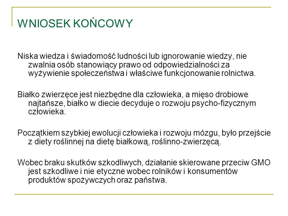 WNIOSEK KOŃCOWY Niska wiedza i świadomość ludności lub ignorowanie wiedzy, nie zwalnia osób stanowiący prawo od odpowiedzialności za wyżywienie społec