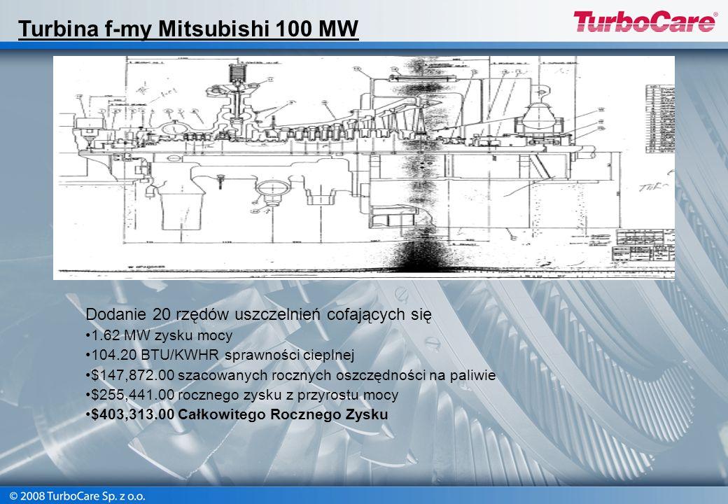 Dodanie 20 rzędów uszczelnień cofających się 1.62 MW zysku mocy 104.20 BTU/KWHR sprawności cieplnej $147,872.00 szacowanych rocznych oszczędności na p