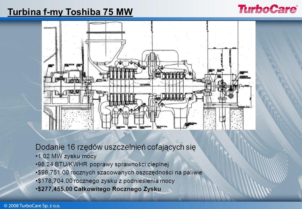 Dodanie 16 rzędów uszczelnień cofających się 1.02 MW zysku mocy 98.24 BTU/KWHR poprawy sprawności cieplnej $98,751.00 rocznych szacowanych oszczędnośc