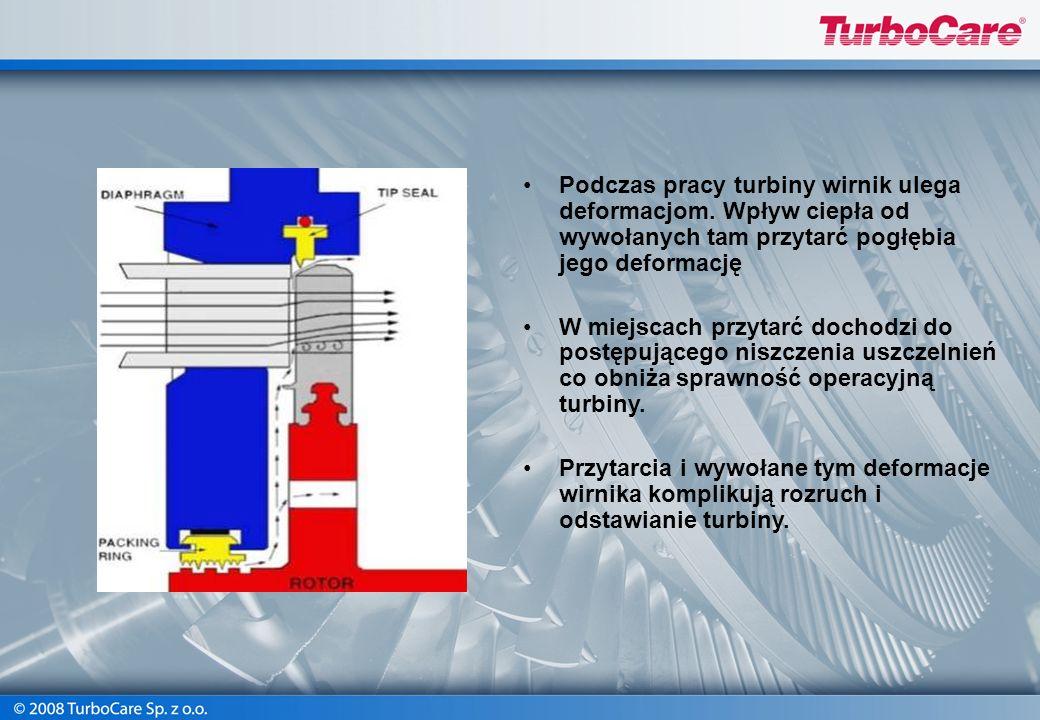 Podczas pracy turbiny wirnik ulega deformacjom. Wpływ ciepła od wywołanych tam przytarć pogłębia jego deformację W miejscach przytarć dochodzi do post