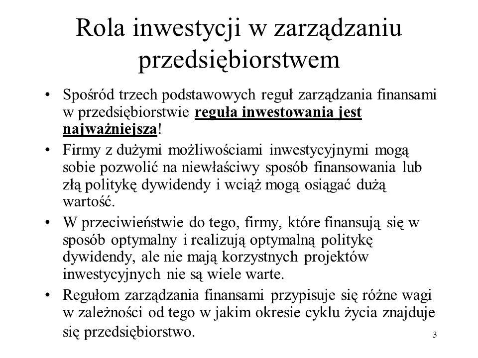 3 Rola inwestycji w zarządzaniu przedsiębiorstwem Spośród trzech podstawowych reguł zarządzania finansami w przedsiębiorstwie reguła inwestowania jest