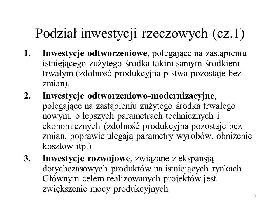7 Podział inwestycji rzeczowych (cz.1) 1.Inwestycje odtworzeniowe, polegające na zastąpieniu istniejącego zużytego środka takim samym środkiem trwałym