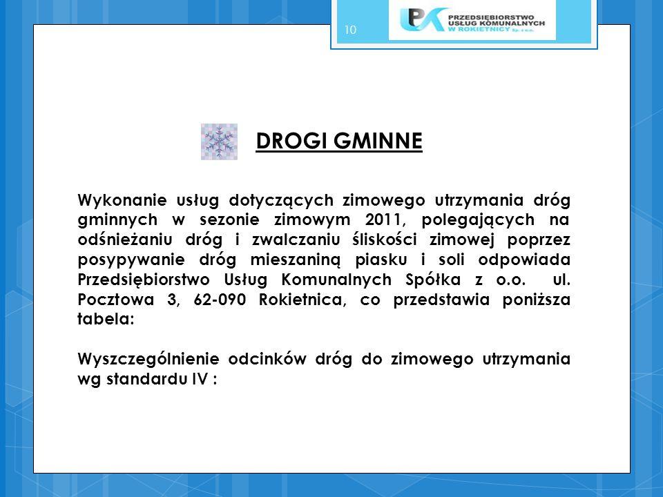 10 DROGI GMINNE Wykonanie usług dotyczących zimowego utrzymania dróg gminnych w sezonie zimowym 2011, polegających na odśnieżaniu dróg i zwalczaniu śl