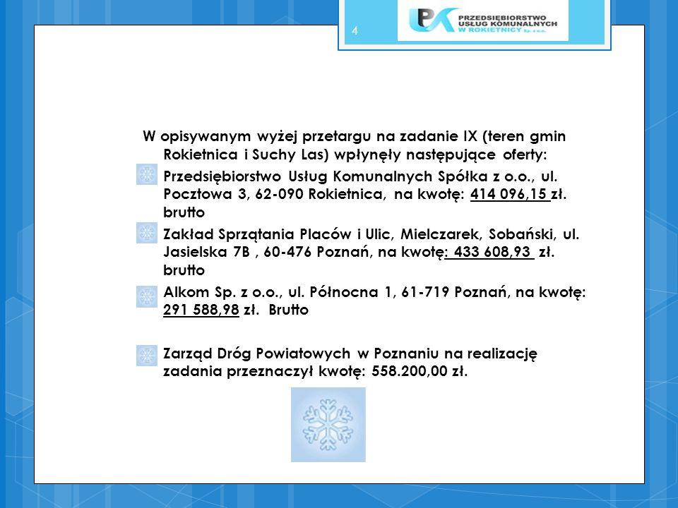 W opisywanym wyżej przetargu na zadanie IX (teren gmin Rokietnica i Suchy Las) wpłynęły następujące oferty: Przedsiębiorstwo Usług Komunalnych Spółka