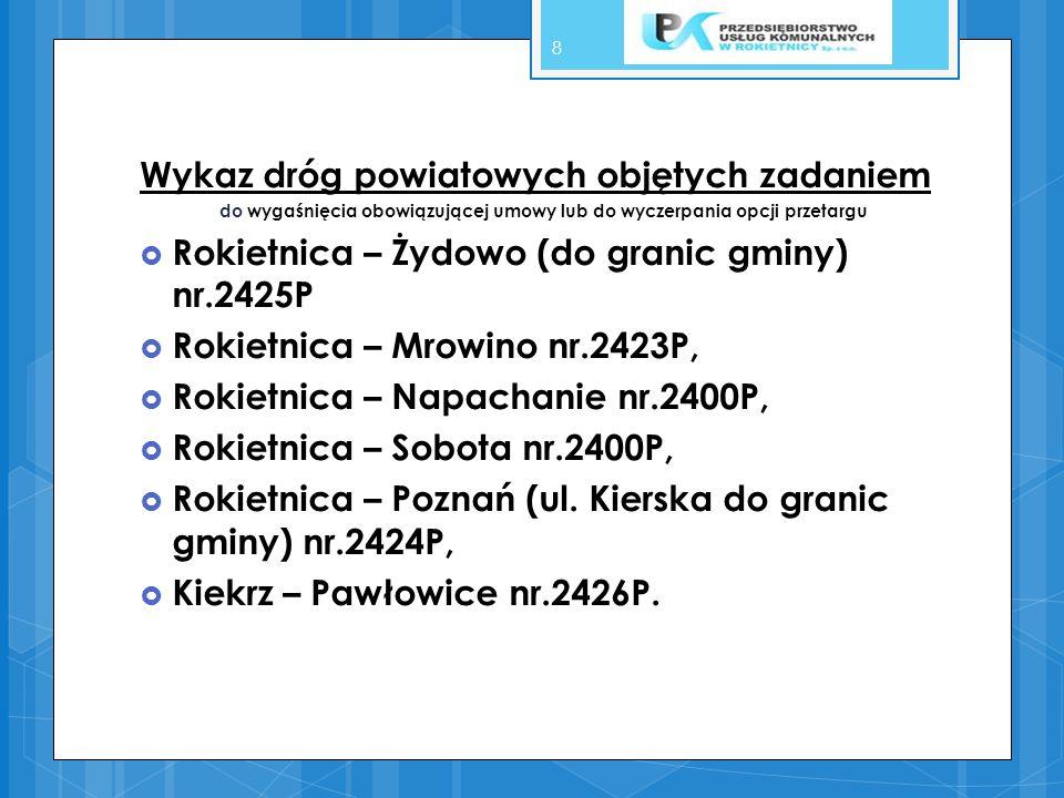 9 DROGI WOJEWÓDZKIE Wykonanie usług dotyczących zimowego utrzymania dróg wojewódzkich leżących na terenie gminy Rokietnica pozostaje w gestii Rejonu Dróg Wojewódzkich w Szamotułach Tel: 61 – 292 13 76 fax 61 – 292 16 41 tel.