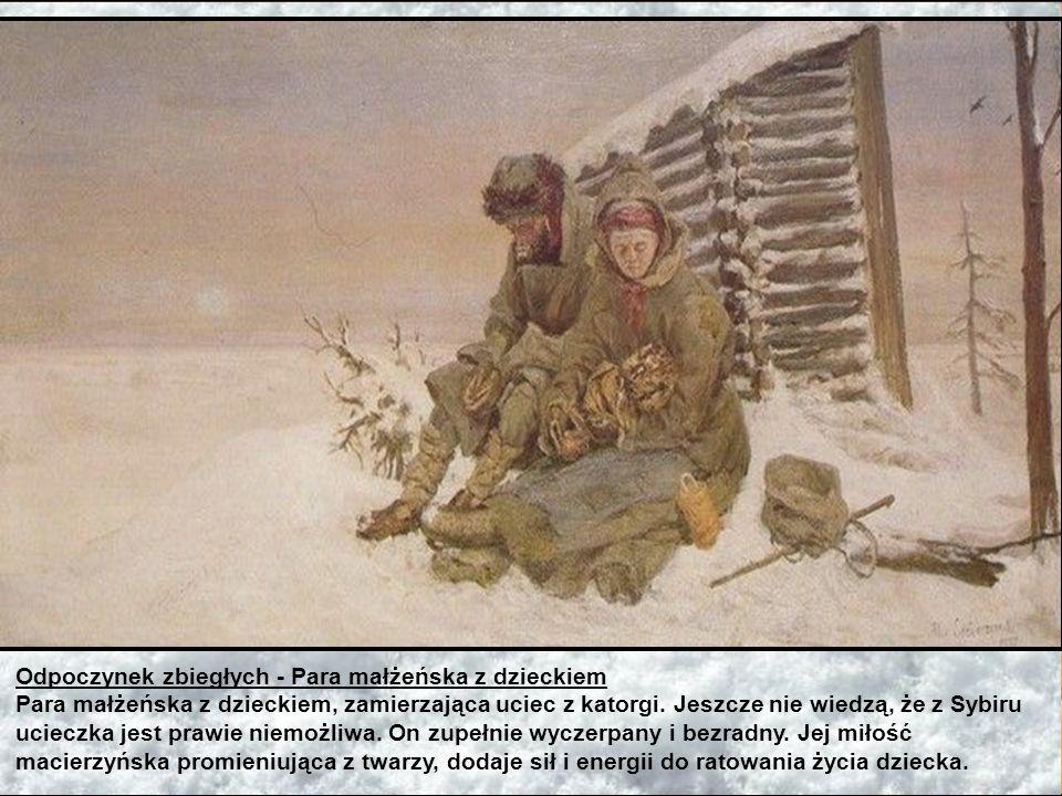 Jutrznia - W drodze do katorgi - Poranek w kopalni Katorżnicy w drodze do kopalni i warzelni soli na całodzienną robotę. Idą przez zamarzniętą Angarę