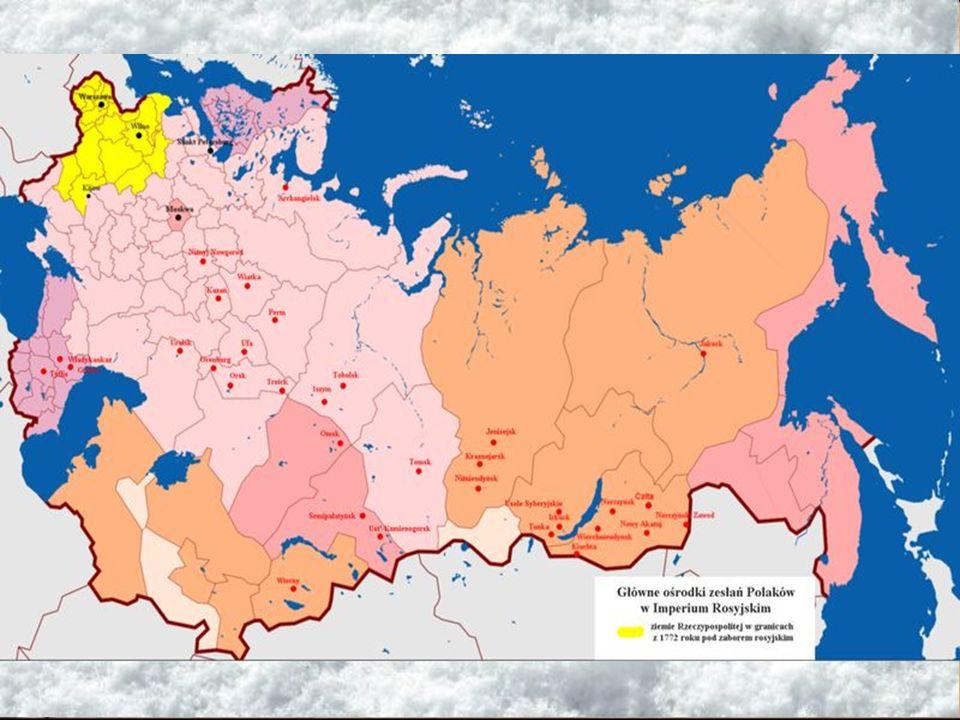 Zesłania po powstaniu styczniowym Po stłumieniu powstania styczniowego Rosjanie zesłali na katorgę i osiedlenie około 40 tysięcy powstańców, z których