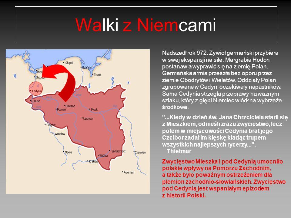 Koniec panowania Mieszka I W 990 roku Mieszko I zerwał przymierze z Czechami, przyłączając na stałe ziemie Śląska zajmowany niegdyś między innymi przez plemię Ślężan do terenów Polski.