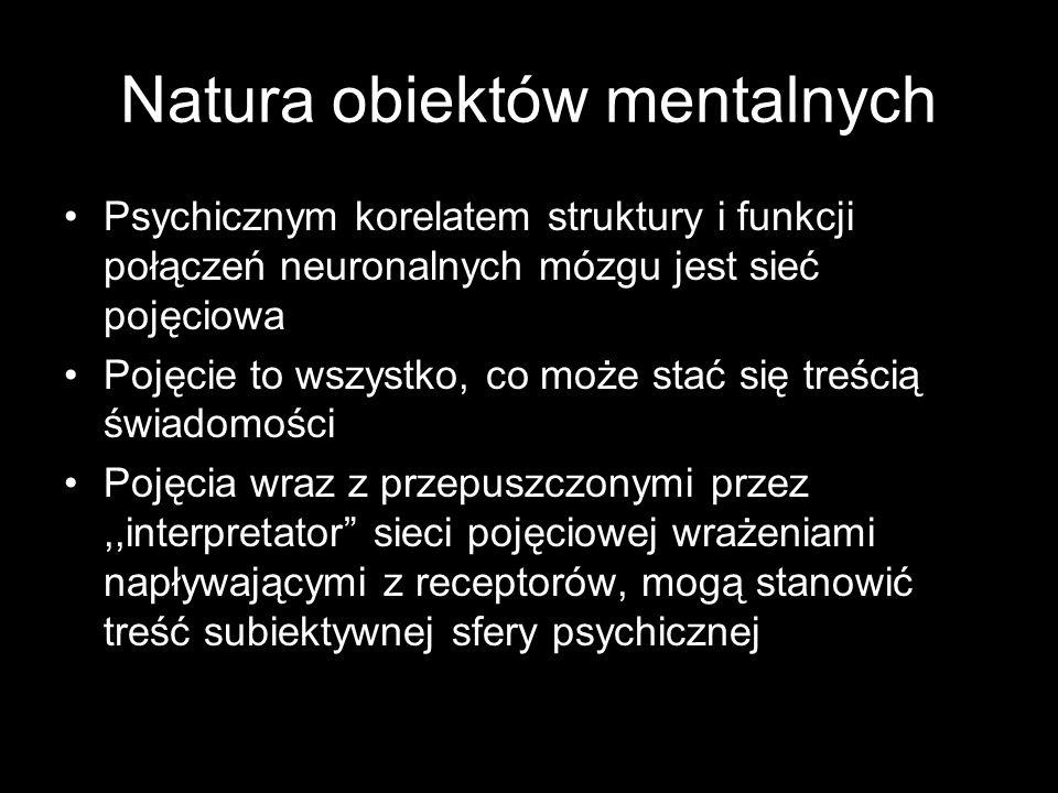 Natura obiektów mentalnych Psychicznym korelatem struktury i funkcji połączeń neuronalnych mózgu jest sieć pojęciowa Pojęcie to wszystko, co może stać