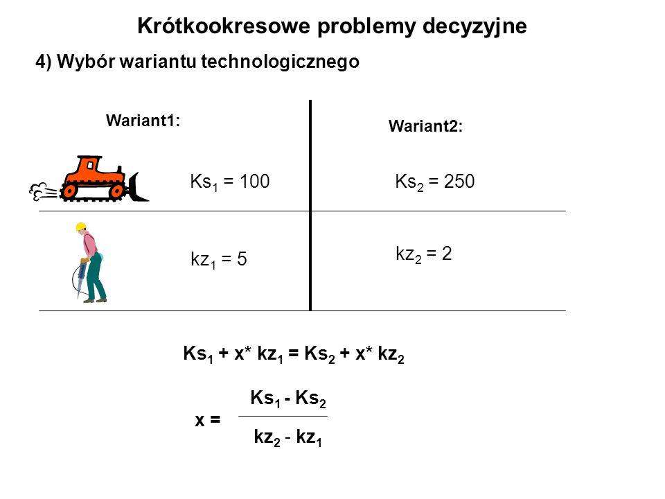 4) Wybór wariantu technologicznego Wariant2: Wariant1: Ks 1 = 100 kz 1 = 5 Ks 2 = 250 kz 2 = 2 Ks 1 + x* kz 1 = Ks 2 + x* kz 2 Ks 1 - Ks 2 x = kz 2 - kz 1 Krótkookresowe problemy decyzyjne
