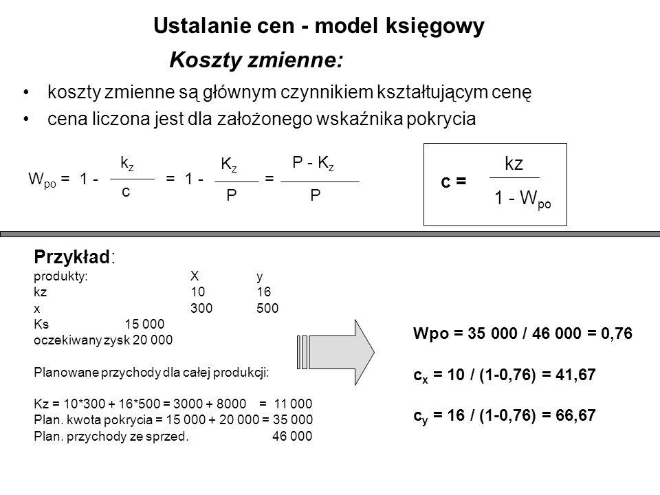 Koszty zmienne: koszty zmienne są głównym czynnikiem kształtującym cenę cena liczona jest dla założonego wskaźnika pokrycia kzkz c W po = 1 - KzKz P = 1 - P - K z P = c = kz 1 - W po Przykład: produkty:Xy kz1016 x300500 Ks15 000 oczekiwany zysk 20 000 Planowane przychody dla całej produkcji: Kz = 10*300 + 16*500 = 3000 + 8000 = 11 000 Plan.