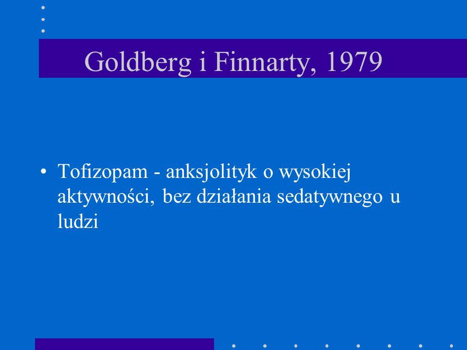 Goldberg i Finnarty, 1979 Tofizopam - anksjolityk o wysokiej aktywności, bez działania sedatywnego u ludzi