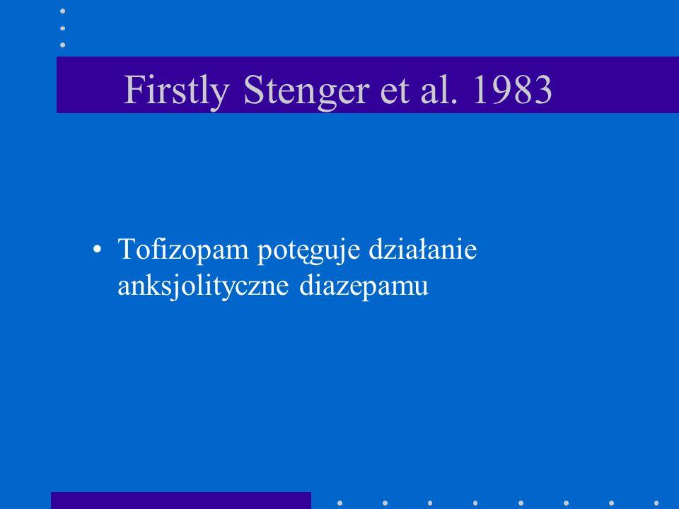 Firstly Stenger et al. 1983 Tofizopam potęguje działanie anksjolityczne diazepamu