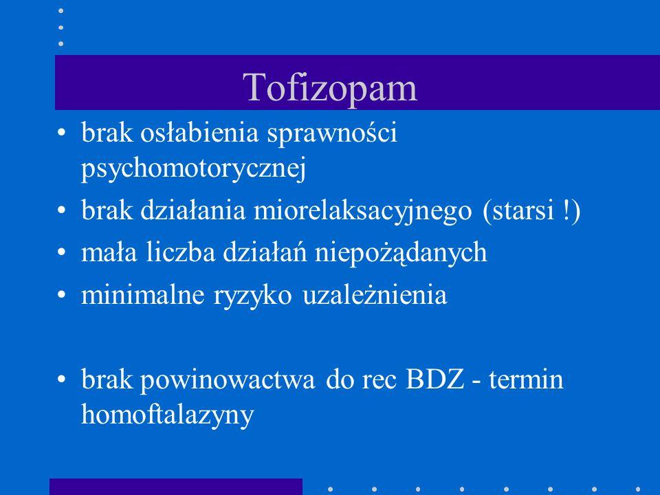 Tofizopam brak osłabienia sprawności psychomotorycznej brak działania miorelaksacyjnego (starsi !) mała liczba działań niepożądanych minimalne ryzyko