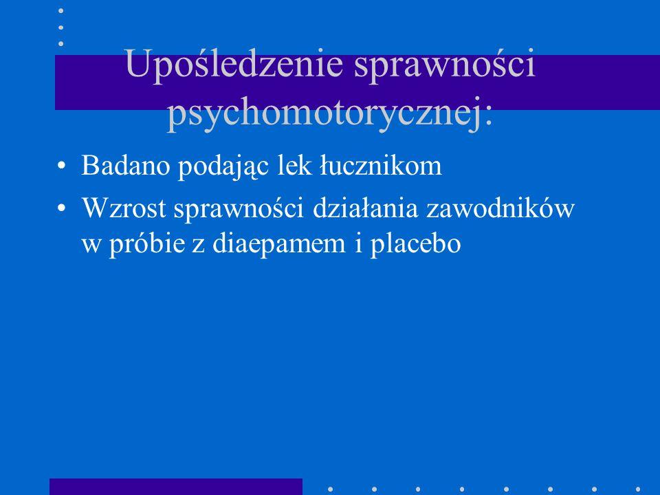 Upośledzenie sprawności psychomotorycznej: Badano podając lek łucznikom Wzrost sprawności działania zawodników w próbie z diaepamem i placebo