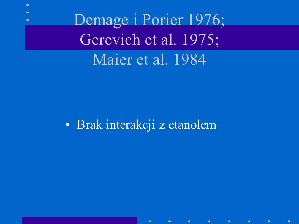 Demage i Porier 1976; Gerevich et al. 1975; Maier et al. 1984 Brak interakcji z etanolem