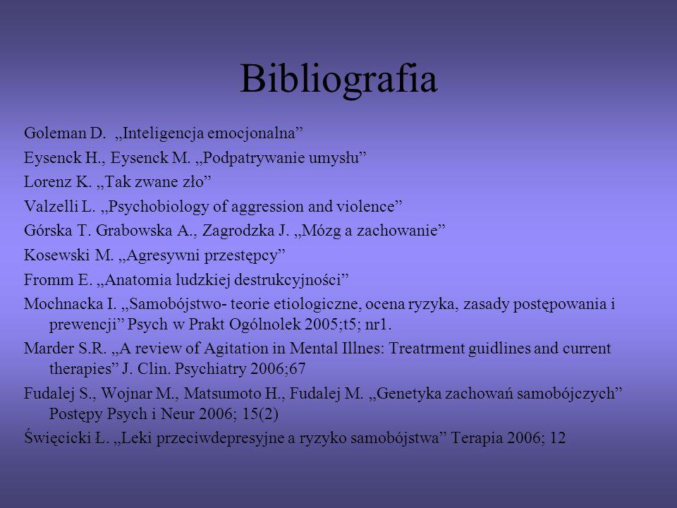 Bibliografia Goleman D. Inteligencja emocjonalna Eysenck H., Eysenck M. Podpatrywanie umysłu Lorenz K. Tak zwane zło Valzelli L. Psychobiology of aggr