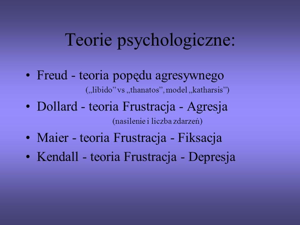 Teorie psychologiczne: Freud - teoria popędu agresywnego (libido vs thanatos, model katharsis) Dollard - teoria Frustracja - Agresja (nasilenie i licz