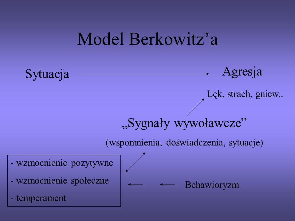 Model Berkowitza Sytuacja Agresja Lęk, strach, gniew.. Sygnały wywoławcze (wspomnienia, doświadczenia, sytuacje) - wzmocnienie pozytywne - wzmocnienie