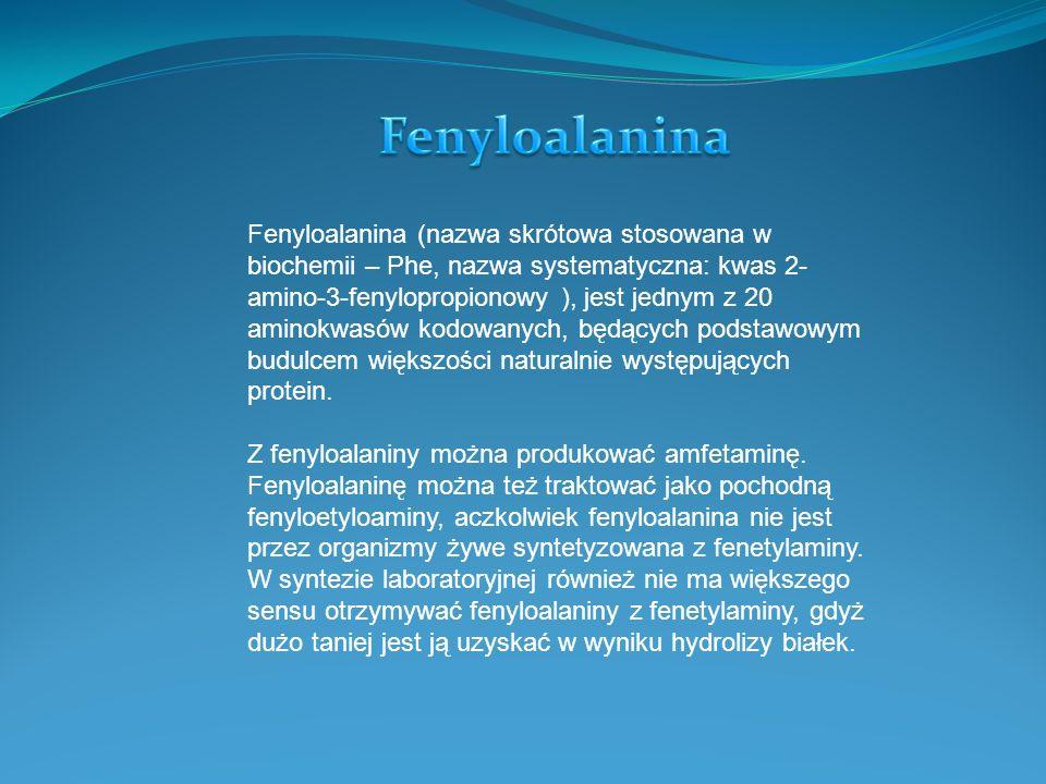 Fenyloalanina (nazwa skrótowa stosowana w biochemii – Phe, nazwa systematyczna: kwas 2- amino-3-fenylopropionowy ), jest jednym z 20 aminokwasów kodowanych, będących podstawowym budulcem większości naturalnie występujących protein.