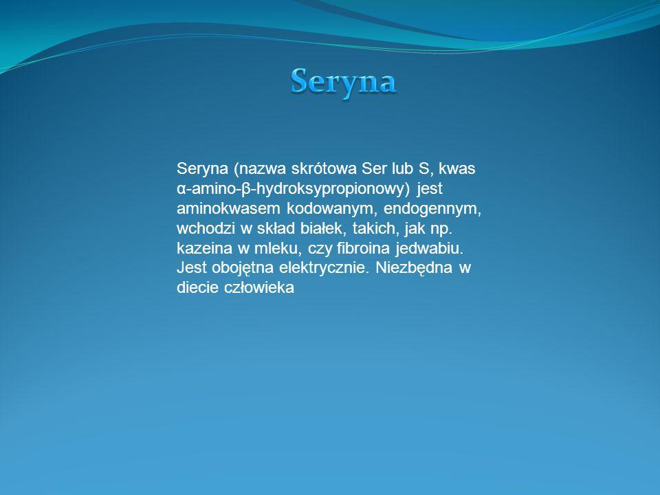 Seryna (nazwa skrótowa Ser lub S, kwas α-amino-β-hydroksypropionowy) jest aminokwasem kodowanym, endogennym, wchodzi w skład białek, takich, jak np.
