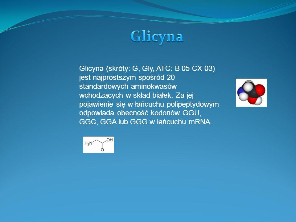 Glicyna (skróty: G, Gly, ATC: B 05 CX 03) jest najprostszym spośród 20 standardowych aminokwasów wchodzących w skład białek. Za jej pojawienie się w ł
