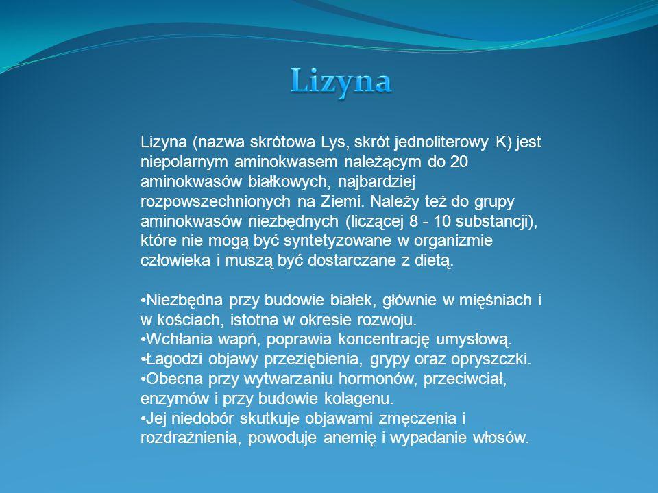 Lizyna (nazwa skrótowa Lys, skrót jednoliterowy K) jest niepolarnym aminokwasem należącym do 20 aminokwasów białkowych, najbardziej rozpowszechnionych
