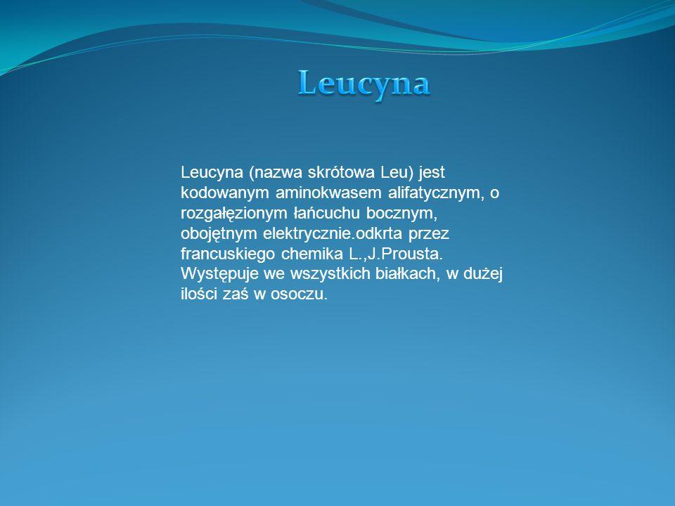 Leucyna (nazwa skrótowa Leu) jest kodowanym aminokwasem alifatycznym, o rozgałęzionym łańcuchu bocznym, obojętnym elektrycznie.odkrta przez francuskiego chemika L.,J.Prousta.