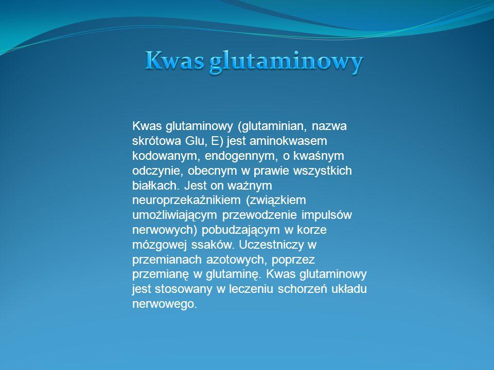 Kwas glutaminowy (glutaminian, nazwa skrótowa Glu, E) jest aminokwasem kodowanym, endogennym, o kwaśnym odczynie, obecnym w prawie wszystkich białkach