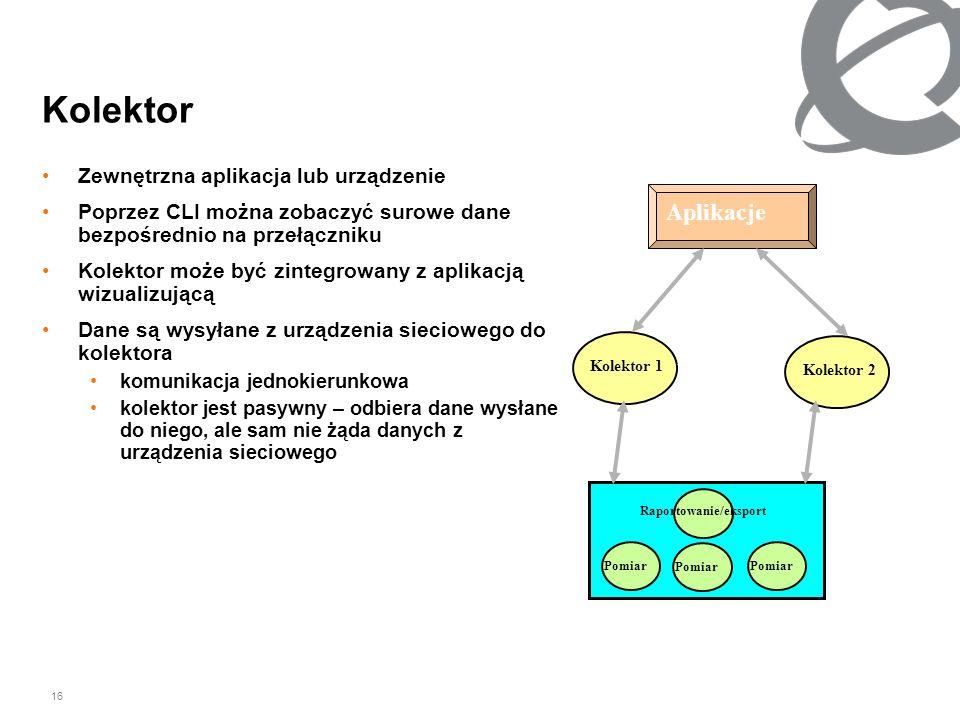 16 Kolektor Zewnętrzna aplikacja lub urządzenie Poprzez CLI można zobaczyć surowe dane bezpośrednio na przełączniku Kolektor może być zintegrowany z a