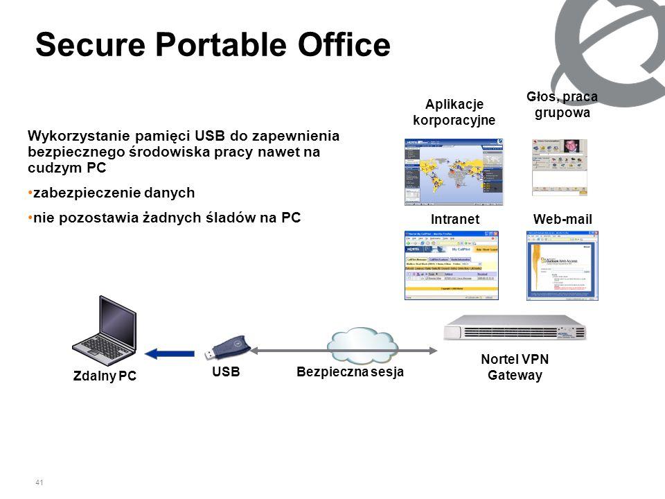 41 Secure Portable Office Wykorzystanie pamięci USB do zapewnienia bezpiecznego środowiska pracy nawet na cudzym PC zabezpieczenie danych nie pozostaw