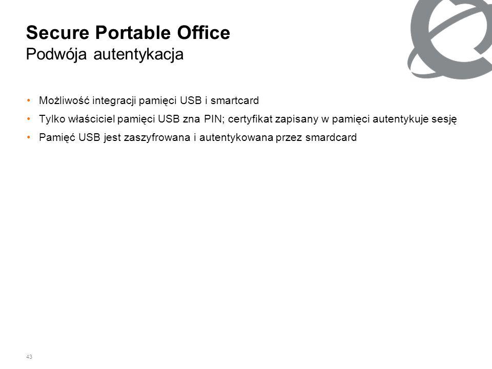 43 Secure Portable Office Podwója autentykacja Możliwość integracji pamięci USB i smartcard Tylko właściciel pamięci USB zna PIN; certyfikat zapisany