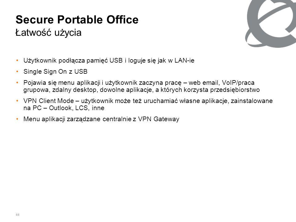 44 Secure Portable Office Łatwość użycia Użytkownik podłącza pamięć USB i loguje się jak w LAN-ie Single Sign On z USB Pojawia się menu aplikacji i uż