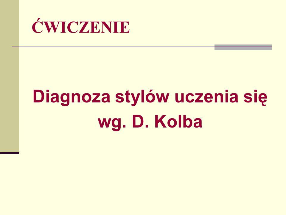 ĆWICZENIE Diagnoza stylów uczenia się wg. D. Kolba