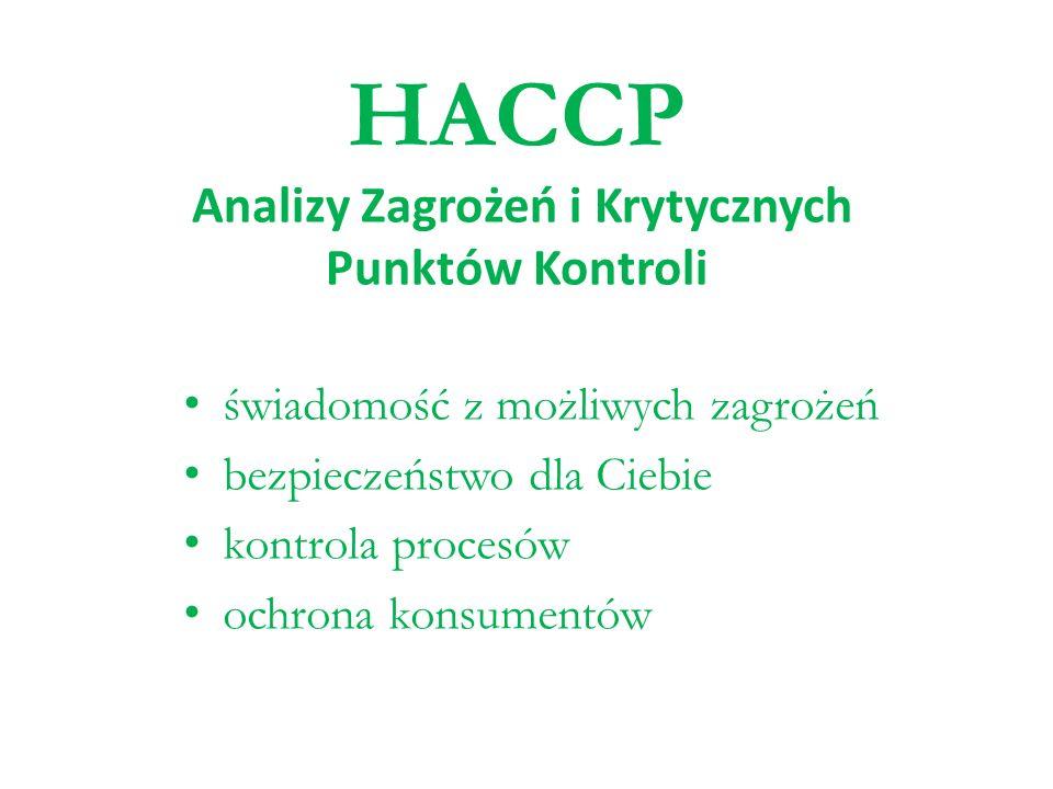 HACCP Analizy Zagrożeń i Krytycznych Punktów Kontroli świadomość z możliwych zagrożeń bezpieczeństwo dla Ciebie kontrola procesów ochrona konsumentów
