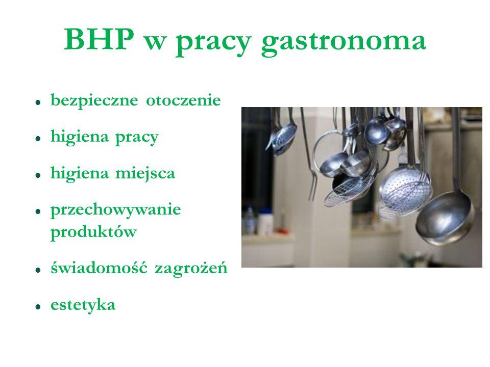 BHP w pracy gastronoma bezpieczne otoczenie higiena pracy higiena miejsca przechowywanie produktów świadomość zagrożeń estetyka
