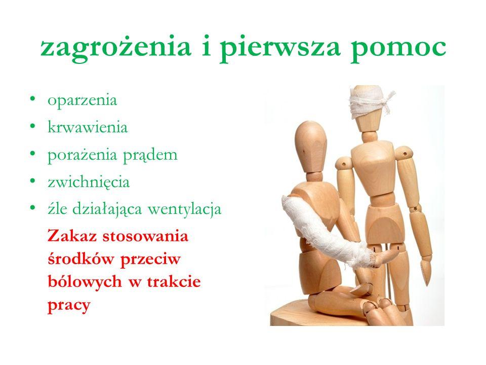 zagrożenia i pierwsza pomoc oparzenia krwawienia porażenia prądem zwichnięcia źle działająca wentylacja Zakaz stosowania środków przeciw bólowych w tr