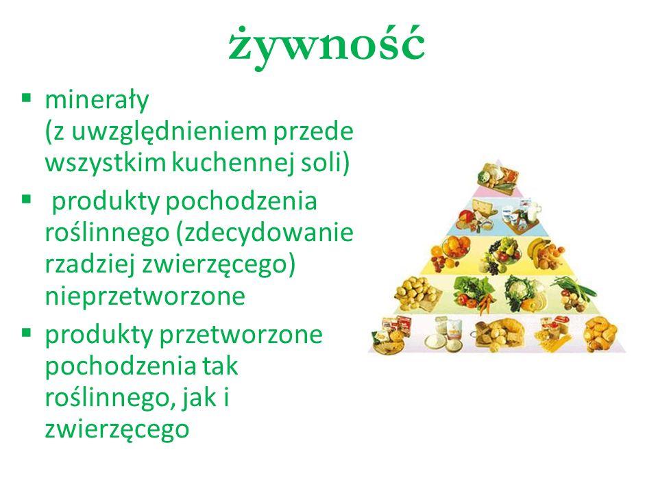 żywność minerały (z uwzględnieniem przede wszystkim kuchennej soli) produkty pochodzenia roślinnego (zdecydowanie rzadziej zwierzęcego) nieprzetworzon