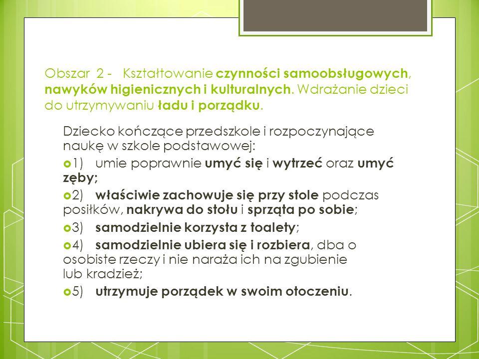 Obszar 2 - Kształtowanie czynności samoobsługowych, nawyków higienicznych i kulturalnych. Wdrażanie dzieci do utrzymywaniu ładu i porządku. Dziecko ko