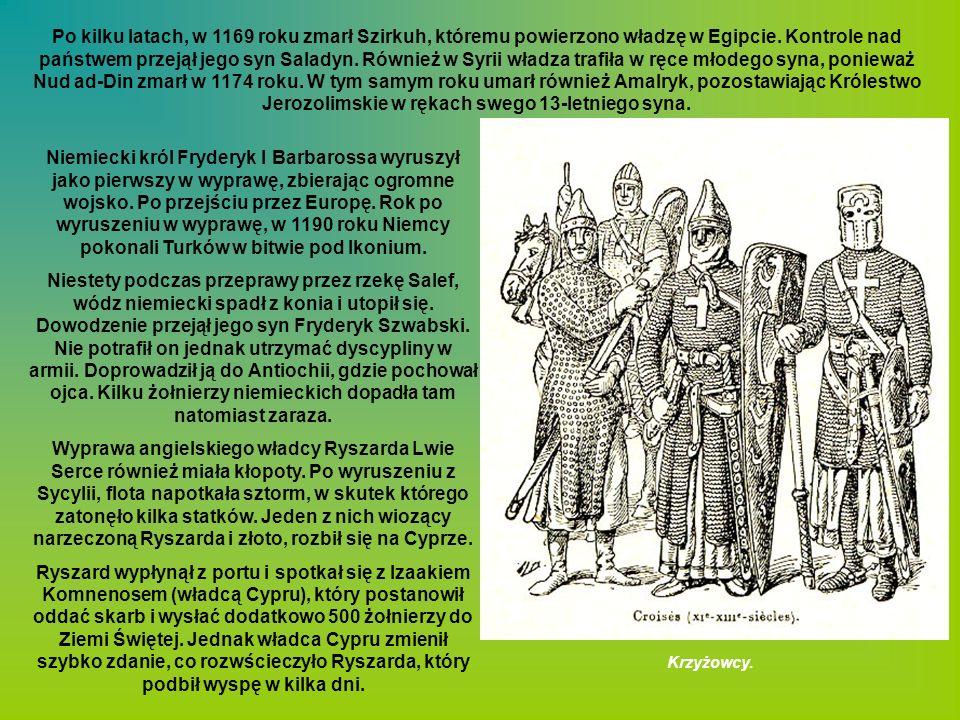 Po kilku latach, w 1169 roku zmarł Szirkuh, któremu powierzono władzę w Egipcie. Kontrole nad państwem przejął jego syn Saladyn. Również w Syrii władz