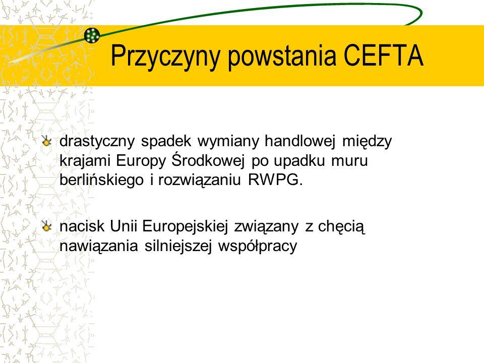 Kalendarium CEFTA 15 II 1991 Deklaracja Wyszehradzka 21 XII 1992 Podpisanie przez Czechosłowację, Węgry i Polskę Środkowoeuropejskiego Porozumienia o Wolnym Handlu 30 III 1993 Eliminacja cła na ok.40% towarów przemysłowych 1 VII 1994 Zwiększenie do 50% bezcłowego importu towarów przemysłowych 1 I 1996 Oficjalne przystąpienie Słowenii do CEFTA Zniesienie ceł na ok.80% produkty przemysłowych Stopniowe obniżanie ceł na produkty rolno – spożywcze 1 I 1997 Całkowite zniesienie opłat celnych na towary przemysłowe z wyjątkiem kilku wrażliwych grup towarów 1 VII 1997 Przyjęcie Rumuni do CEFTA 1 I 1999 Przyjęcie Bułgarii do CEFTA 18 VI 1999 Utworzenie Podkomisji Handlu Rolniczego