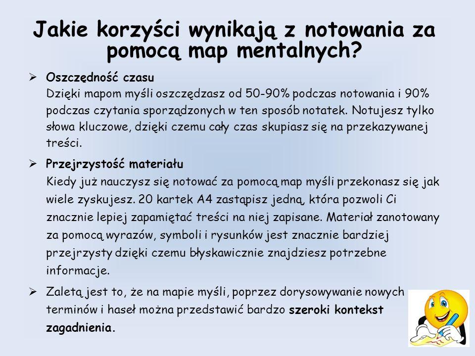 Jakie korzyści wynikają z notowania za pomocą map mentalnych.