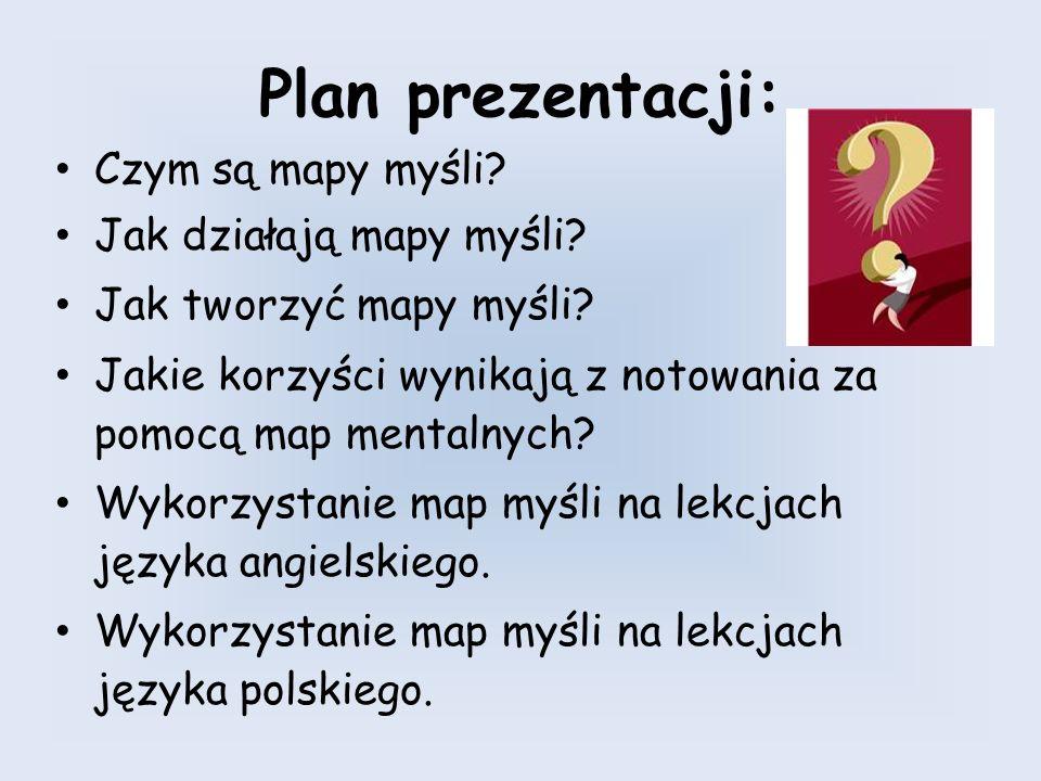 Plan prezentacji: Czym są mapy myśli? Jak działają mapy myśli? Jak tworzyć mapy myśli? Jakie korzyści wynikają z notowania za pomocą map mentalnych? W