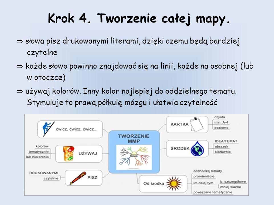 Krok 4. Tworzenie całej mapy. słowa pisz drukowanymi literami, dzięki czemu będą bardziej czytelne każde słowo powinno znajdować się na linii, każde n